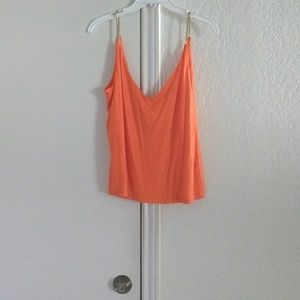 Mixed material orange and gold camisole